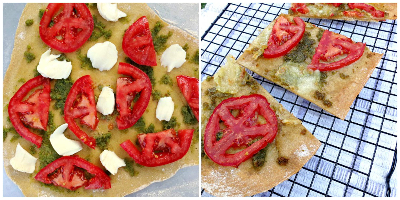 Tomato Mozzarella Pesto Pizza Collage