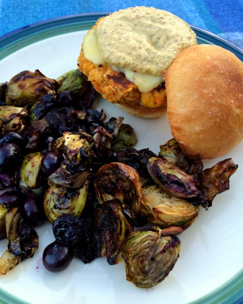 Blueberry Brussel Sprouts and Veggie Burgers