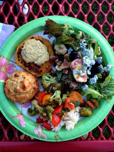 Picnic Dinner - Salad - Veggie Strir Fry - Rice - Muffin - Veggie Burger