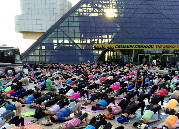 Yoga in front of the Rock & Roll Hall of Fame