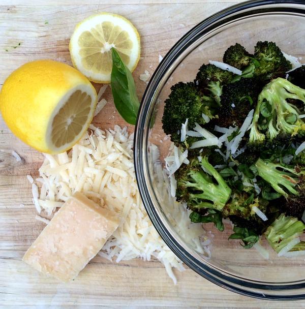 Roasted Broccoli with Basil, Lemon Zest and Parmesan