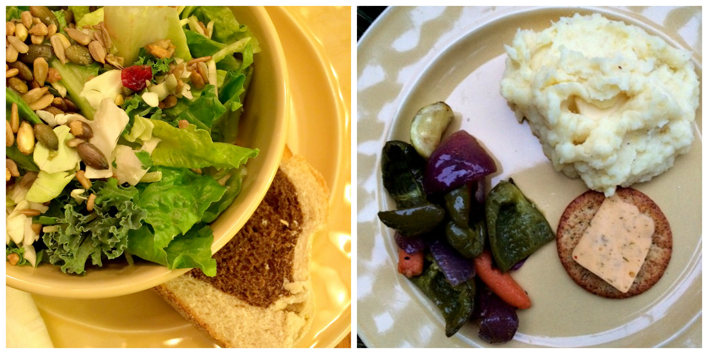 Saturday Dinner Collage Salad, Roasted Veggies and Mashed Potatoes