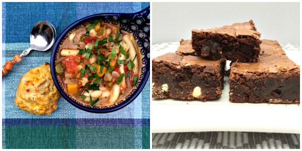 Dinner and Dessert (Minestrone Soup, Biscuits and Brownies) Collage