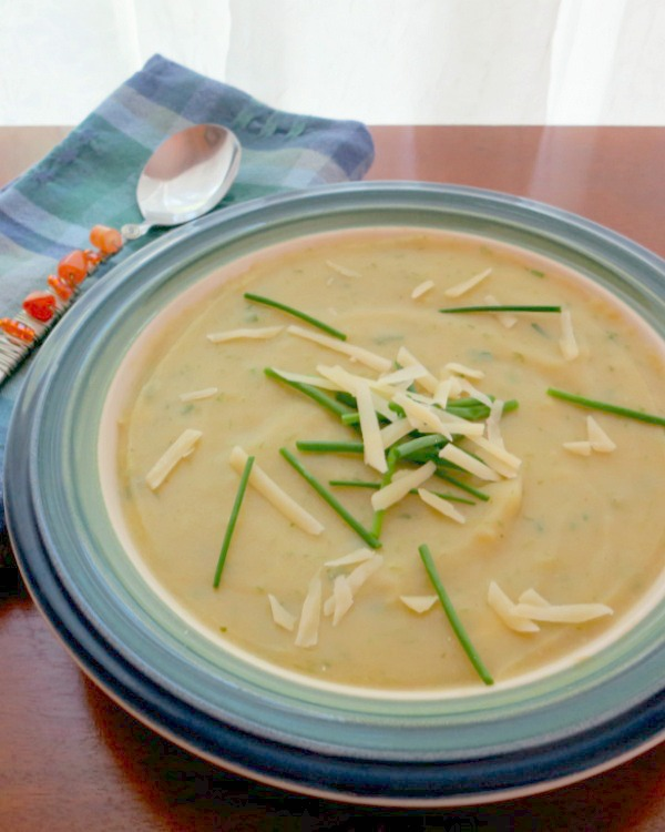 Potato Ramp Soup with Chives and Cheddar