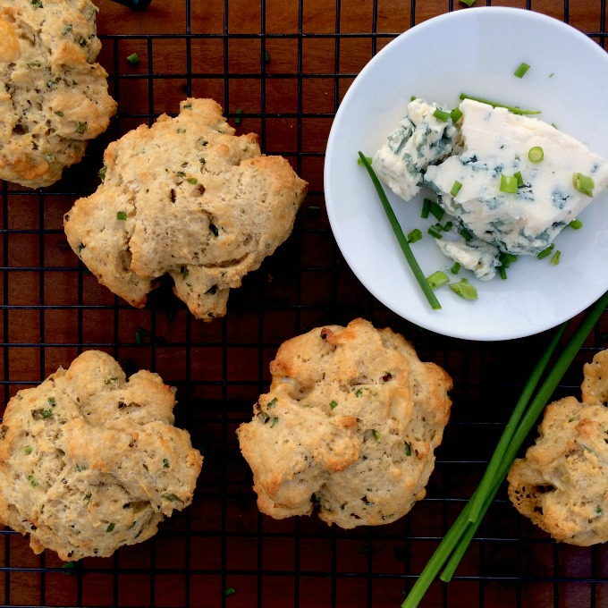 Blue Cheese and Chive Drop Biscuits. The perfect way to enjoy fresh garden chives. Make a double batch, freeze the dough and enjoy all summer long.