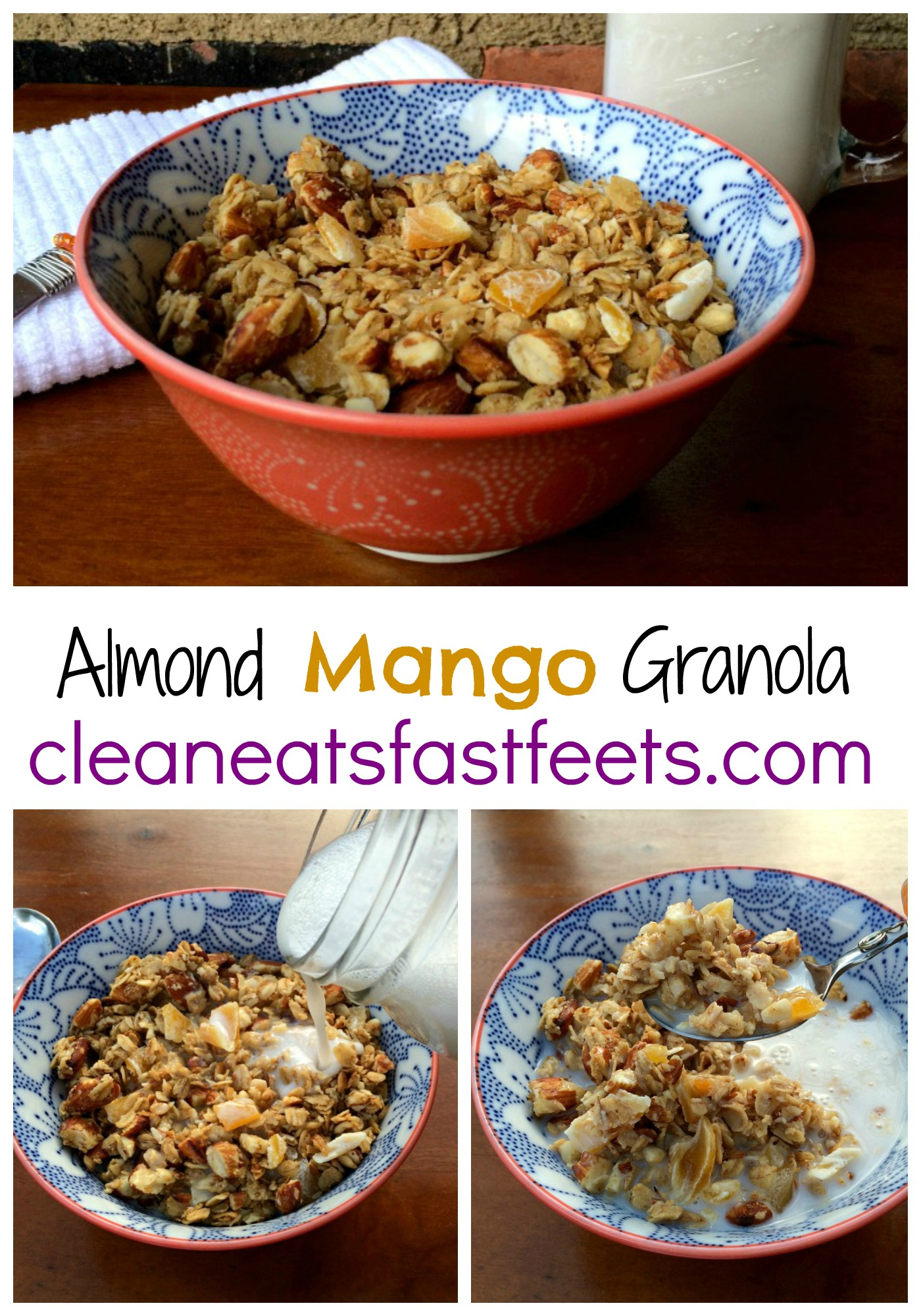 Almond Mango Granola. A sweet and crunchy combination designed to make your mouth sing.