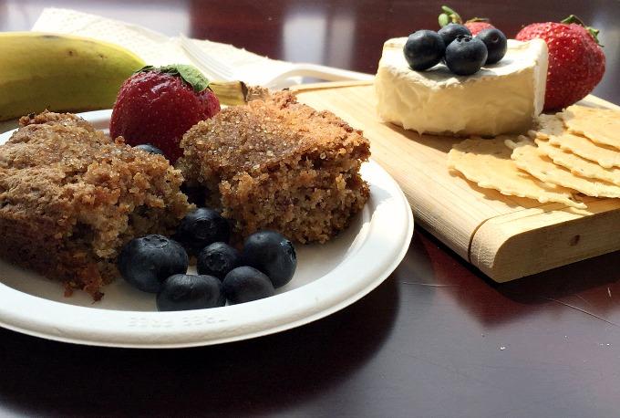 Unusal Breakfast Banana Coffee Cake, Brie and Crackers, and Berries