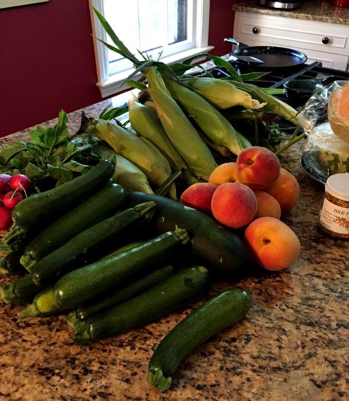 Farmers Market Purchases - Corn, Zucchini and Peaches