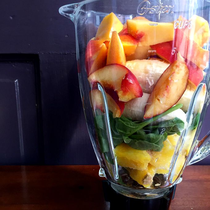 Fruit Smoothie - Peaches, Banana, Spianch, Pineapple
