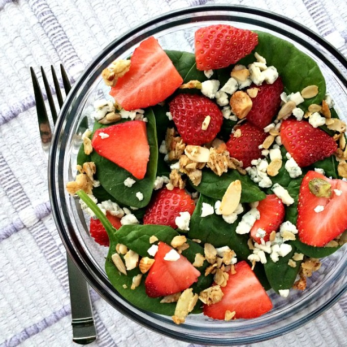 Spinach Salad with Strawberries, Blue Cheese and Parmesan Rosemary Savory Granola