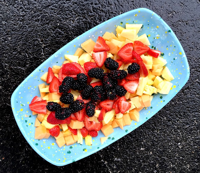 Fruit Platter - Pineapple, Canteloup, Strawberries and Blackberries