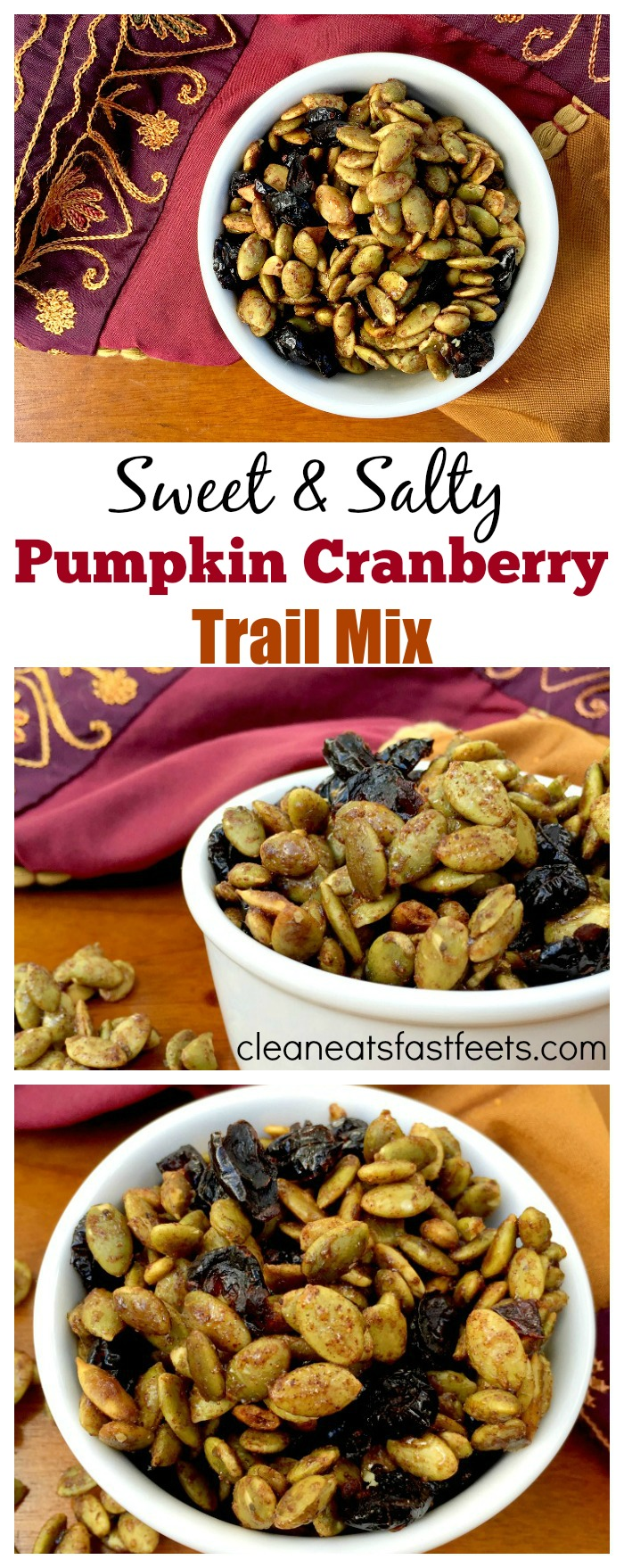 Pumpkin Cranberry Trail Mix. A sweet, salty and satisfying combo to titillate your taste buds.