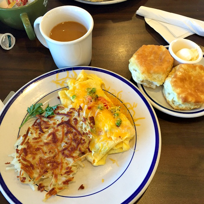 Bob Evans Breakfast - Omelet, Hash Browns and Buttermilk Biscuits