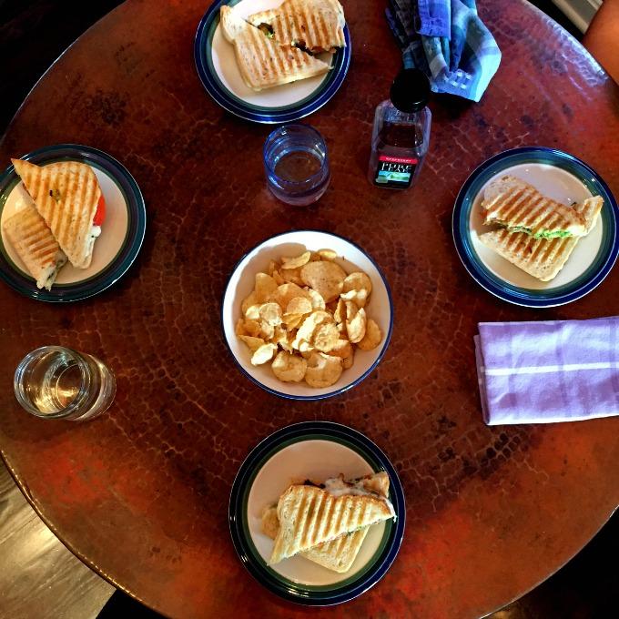 Avocado Cheese Panini and Cheddar Potato Chips