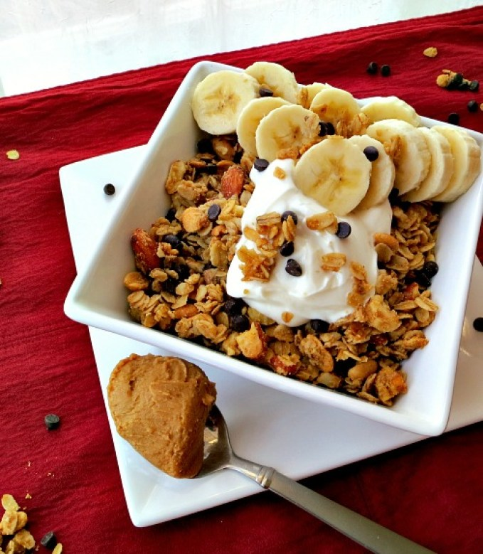 Peanut Butter Chocolate Granola with Bananas