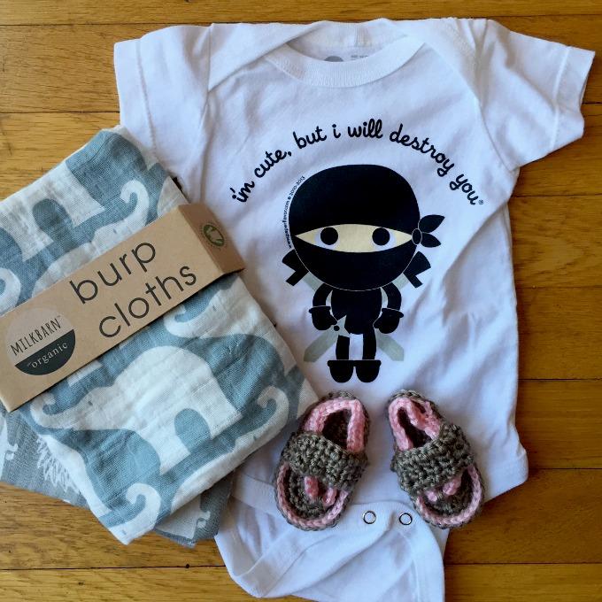 Baby Onesie, Burp Cloths and Flip Flops