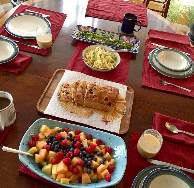Breakfast - Fruit, Orange Cranberry Bread, Cheddar Scrambled Eggs, Asparagus and Smoothies