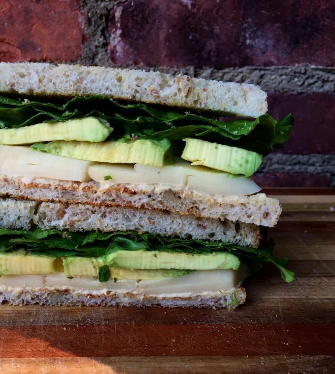 Avocado, Cheese and Hummus Sandwich