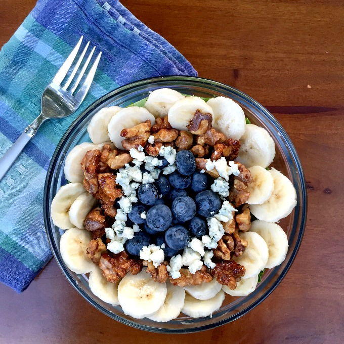 This simple salad packs loads of unique flavor and lots of crunch. With only five easy ingredients, sweet blueberries, sliced bananas, tangy blue cheese, candied walnuts and your greens of choice, it comes together in minutes.