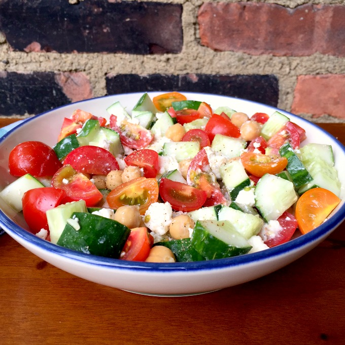 Cucumber Tomato Salad with Chickpeas and Feta