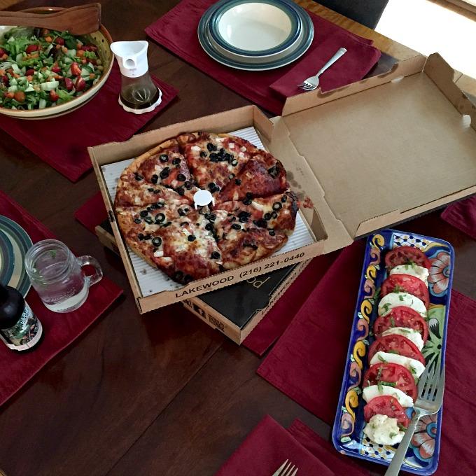 Pizza, Salad and Caprese