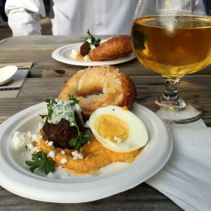 Darista Dips Egg, Lamb Meatball, Cleveland Bagel Appetizer