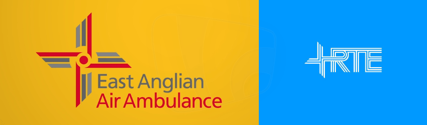 PICTURED: East Anglian Air Ambulance logo and RTÉ 1970s/1980s corporate logo.