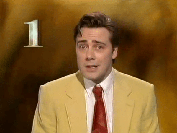PICTURED: RTÉ One in-vision continuity (mid-1990s). Announcer: Noel Fogarty.