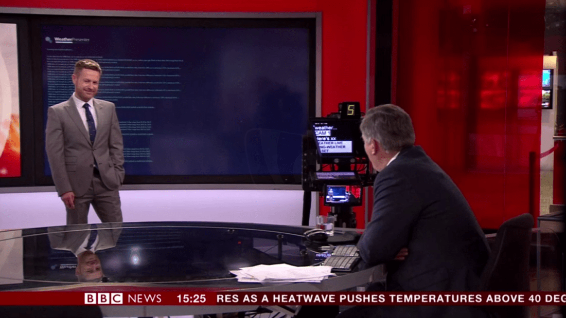 "PICTURED: presenters, Tomasz Schafernaker and Simon McCoy ""filling"" due to a problem with the weather graphics."