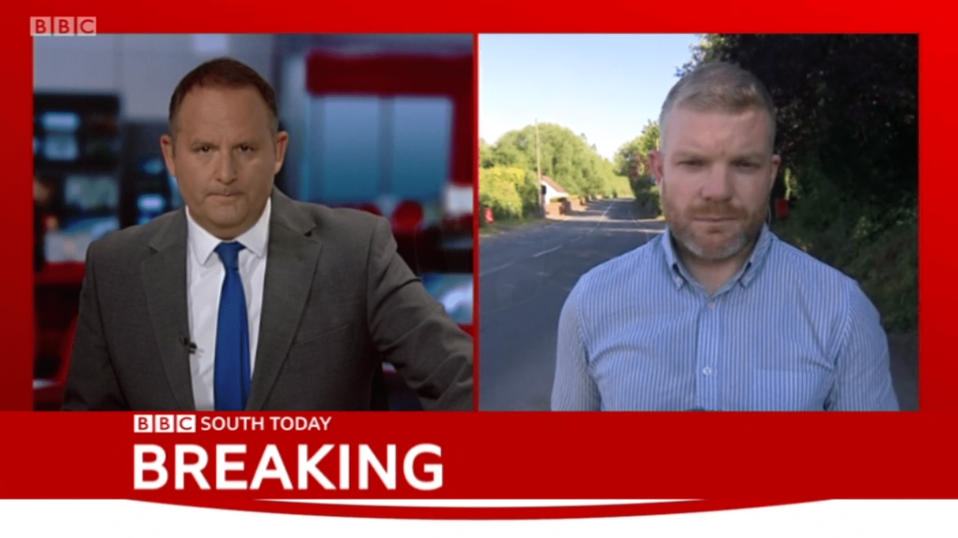 PICTURED: BBC South Today (Oxford) lower-third and 2-screen graphic. Presenter: Jerome Sale. Reporter: TBC.