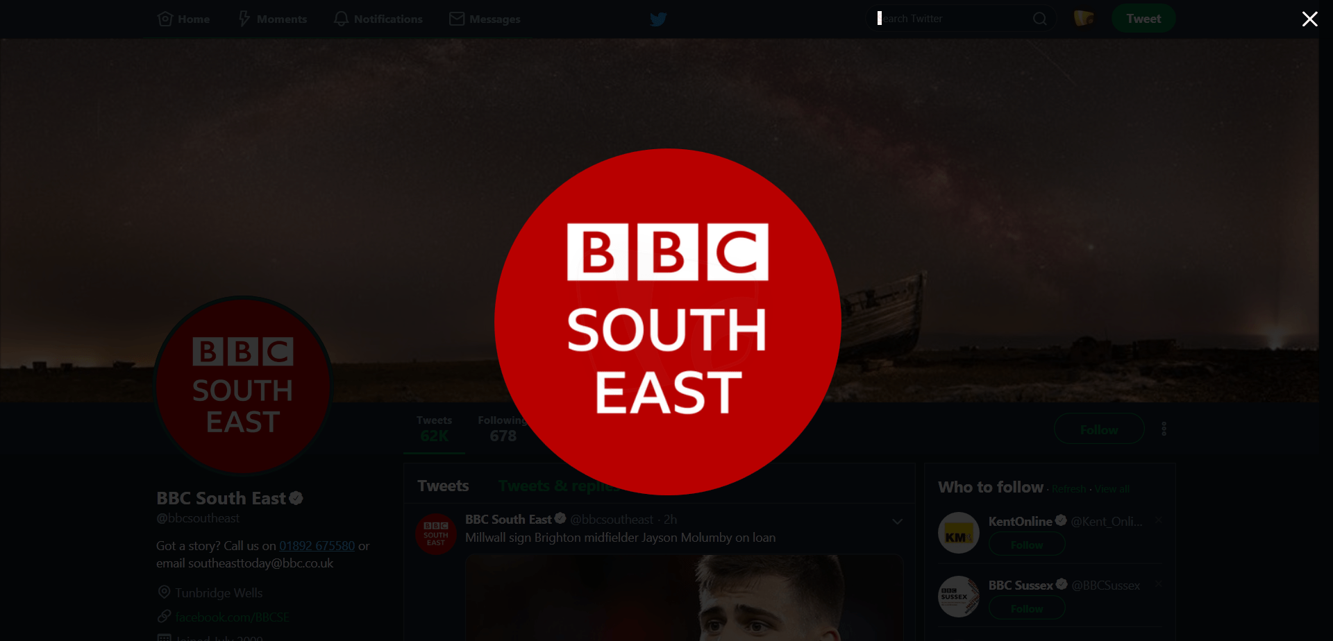 PICTURED: BBC South East branding on social media.