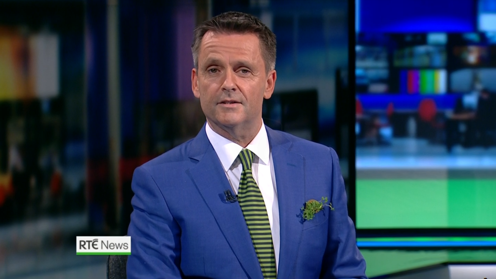 PICTURED: RTÉ News: Six-One presentation for St Patrick's Day. Presenter: Aengus MacGrianna.