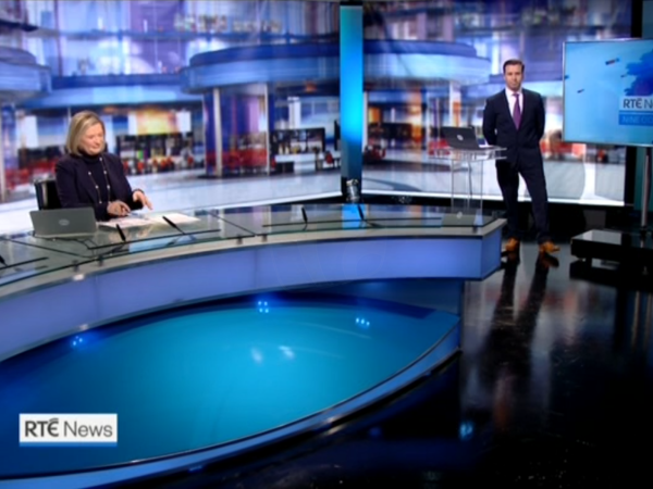 PICTURED: RTÉ News temporary studio wide shot.