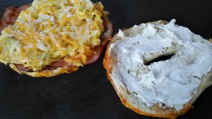 Open Bagel Sandwich with Ham, Egg, and Cheese