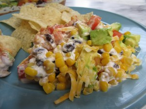 Close-up of 7-Layer Bean Dip