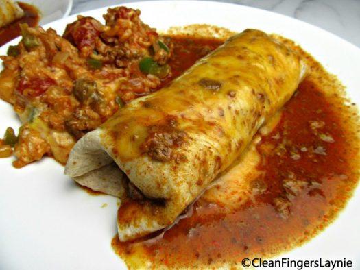 Lazy Chile Colorado Burrito and Spanish Rice