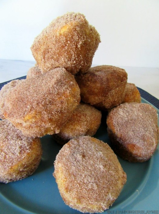 Air Fryer Cinnamon Sugar Donut Muffins Stacked