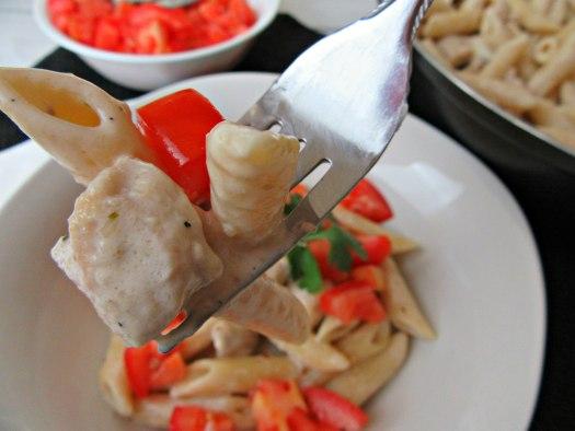 Copycat Chili's Cajun Chicken Pasta on Fork