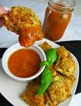 Air Fryer Fried Ravioli Dipped in Homemade Marinara Sauce