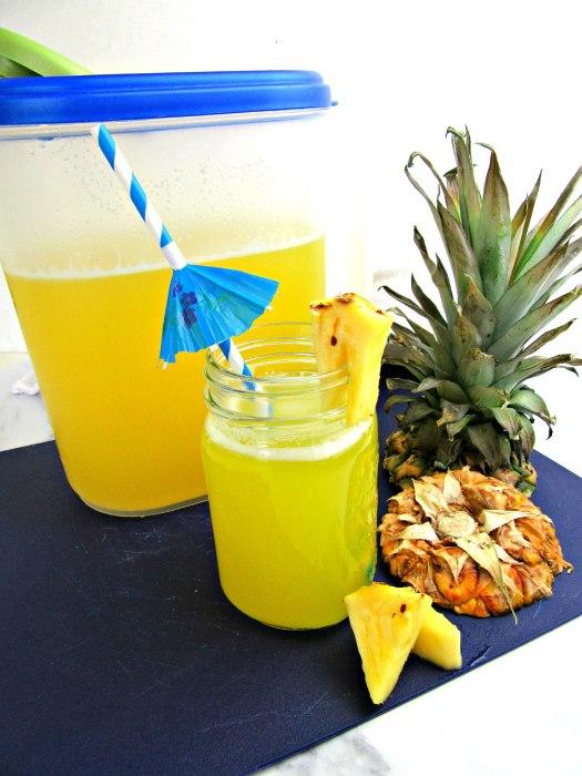Pineapple Water (Agua de Pina) in Pitcher and Mason Jar