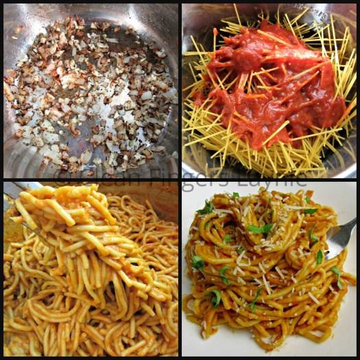 Spicy Creamy Tomato Pasta Process Shot