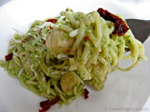 Cilantro Lime Pesto Chicken Pasta Close Up