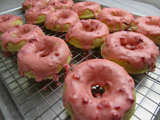 Baked Strawberry Donuts on Baking Rack