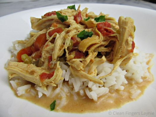 Slow Cooker Queso Chicken on White Rice