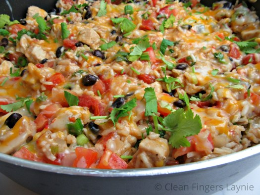 One Pan Chicken Burrito Bowl with Wooden Spoon