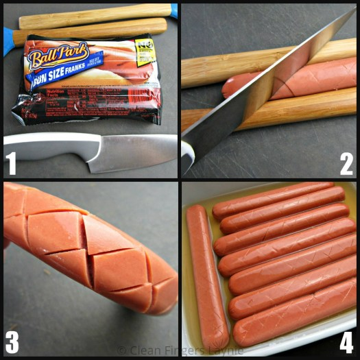 Hot Dog Prep Steps 1 to 4