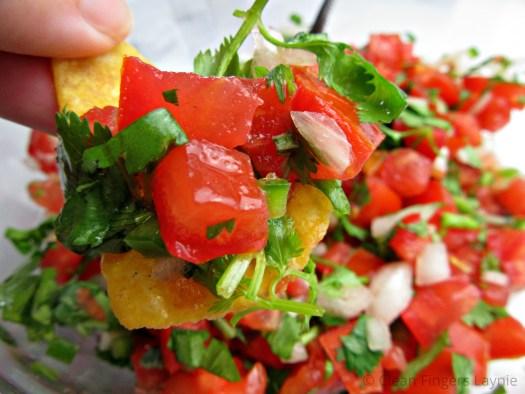 Fresh and Quick Pico De Gallo on Tortilla Chip Close Up