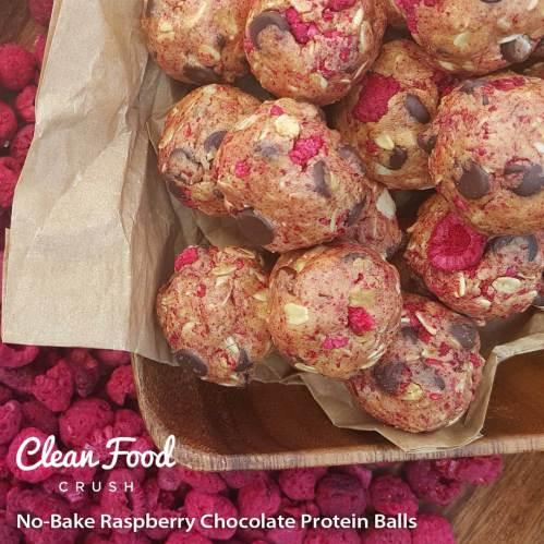 No-Bake Raspberry Chocolate Protein Balls