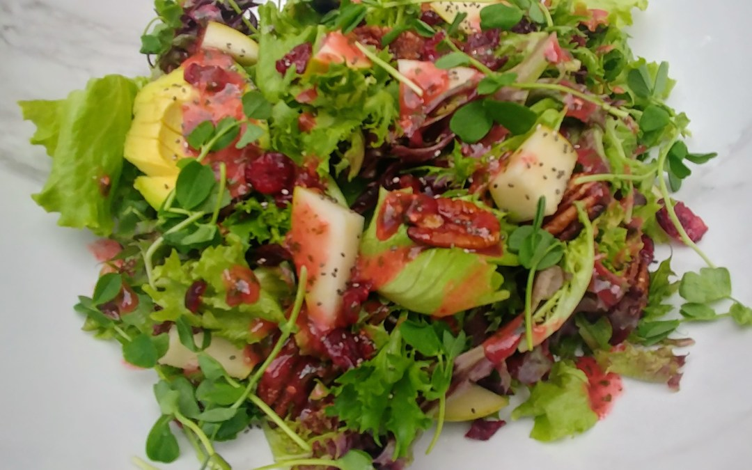 Pear Salad with Raspberry Basil Vinaigrette