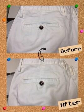メンズ パンツ ズボン バックからの 色移り 染み抜き by 下町、東京都江東区亀戸の会員制クリーニングベレーナ